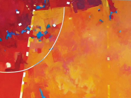 """""""Random in Orange"""" (acrylic on canvas, 36x48) by Mark E. Mehaffey; article on how to paint an abstract painting"""