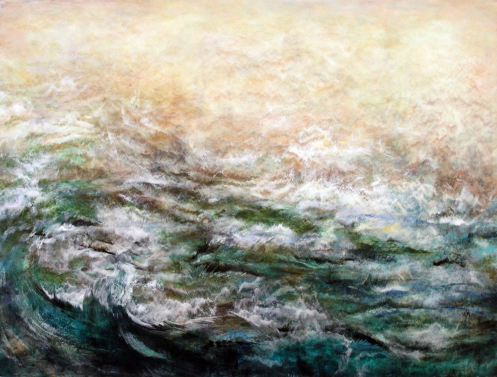 Energy Field & Water by Nancy Reyner, acrylic painting.