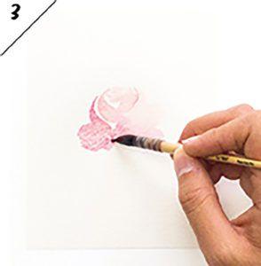 DIY Watercolor Flowers by Marie Boudon - боковой вид розы шаг 3