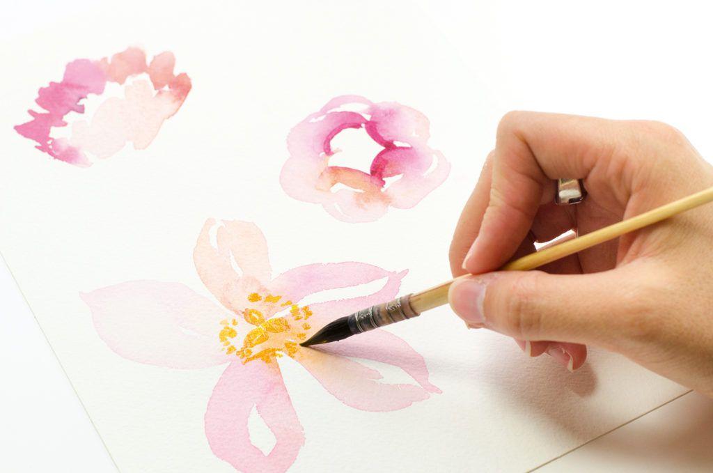 Простые акварельные цветы от Мари Будон