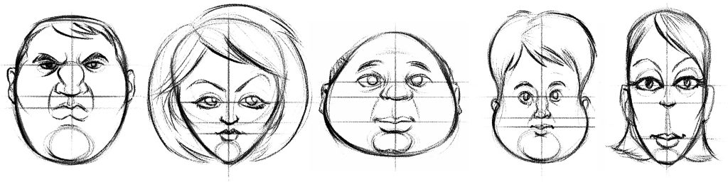 How to draw a cartoon: Cartoon-Face-Shapes-2