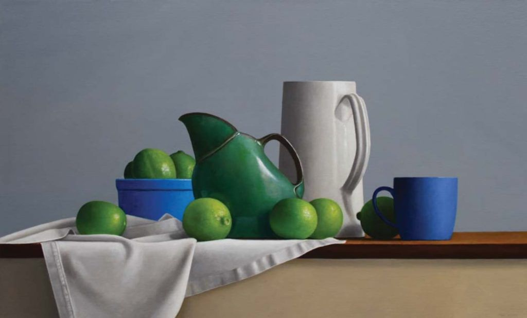 oil painting Small Still life Vintage green porcelain Cup cardboard oil